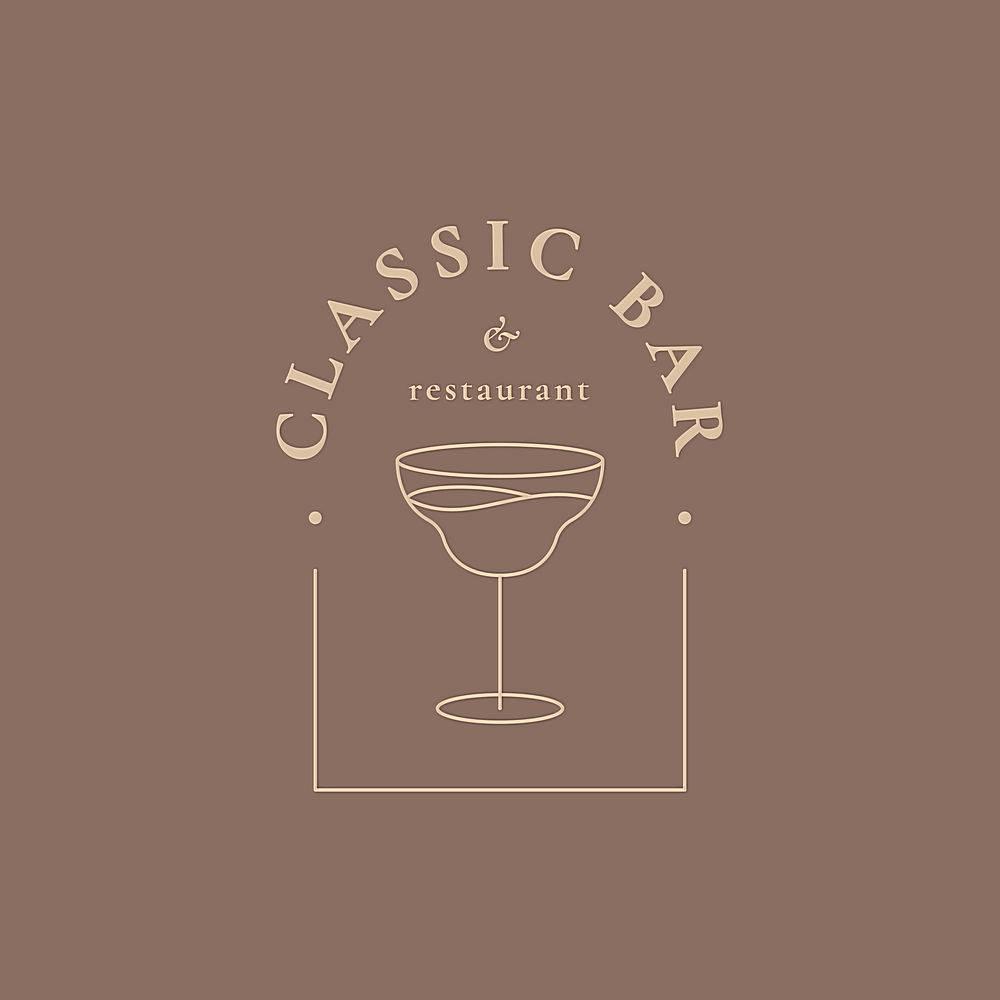 豪华酒吧标志模板与最小的鸡尾酒杯_16393321