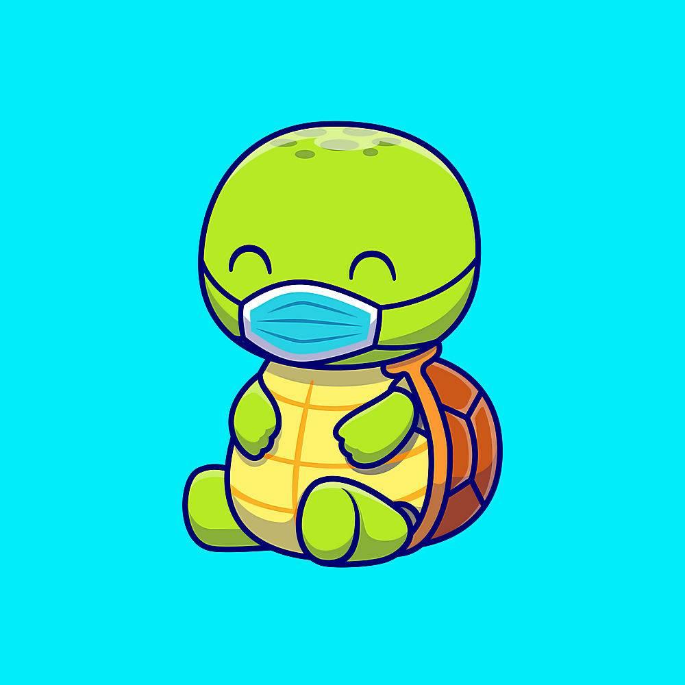 逗人喜爱的乌龟佩带的面具动画片传染媒介象_16306435