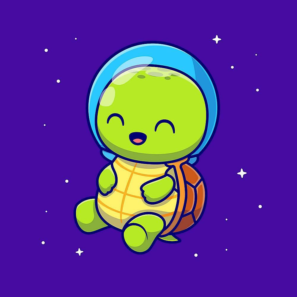 逗人喜爱的乌龟宇航员动画片传染媒介象例证_16306388