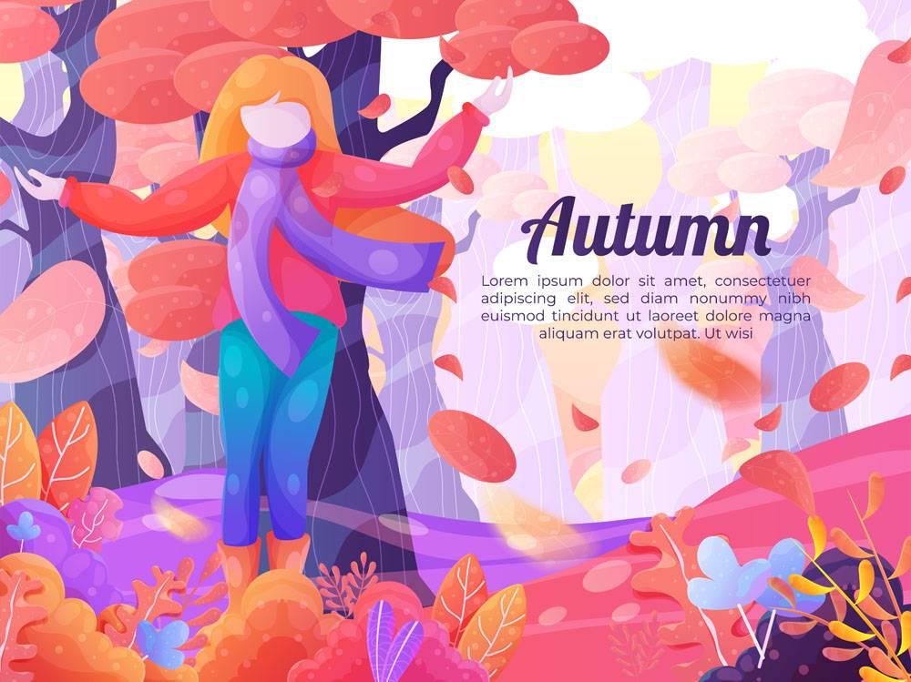 与秋季风景的手拉的背景_17301813