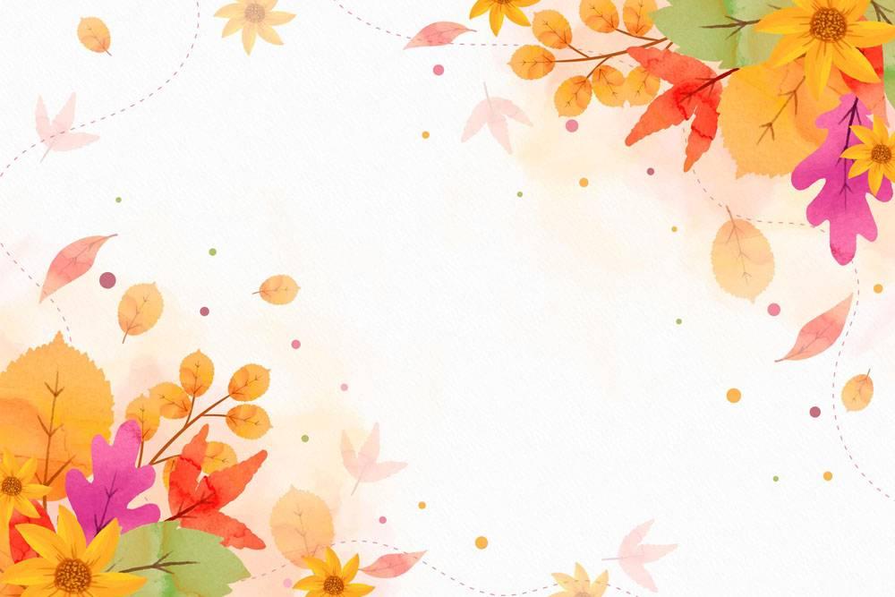 与空的空间的水彩秋天背景_9173316