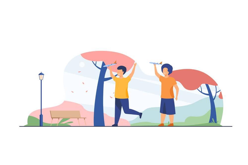 使用与玩具飞机的愉快的孩子在秋天公园男_11671724