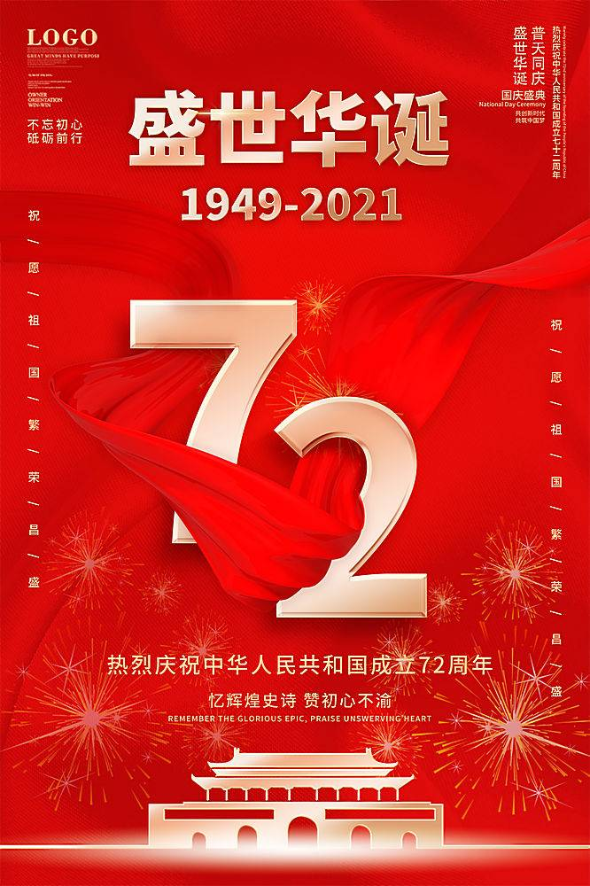 红色简约国庆72周年庆祝海报
