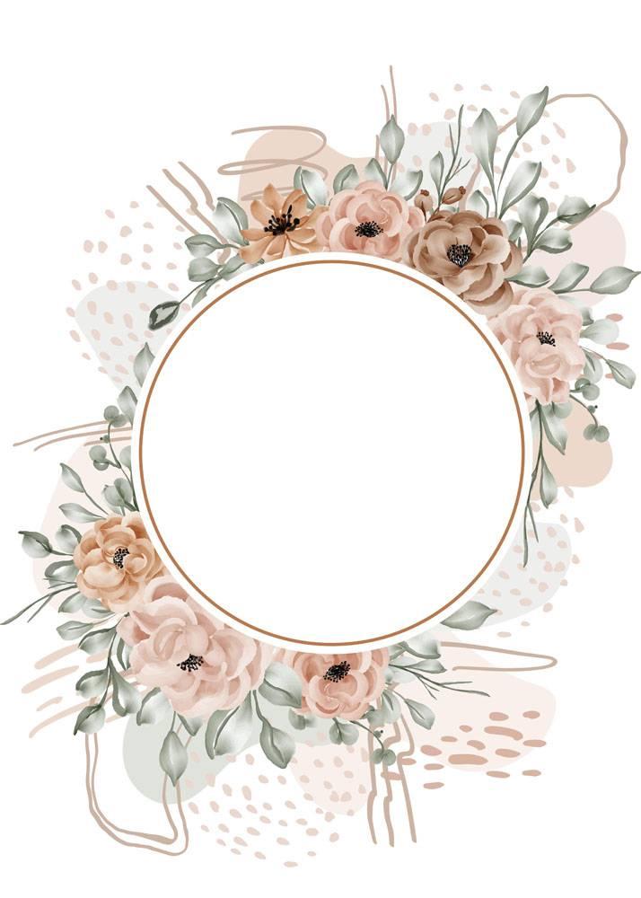 花卉框架玫瑰离开与形状摘要的背景